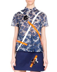 Christopher Kane Short Sleeve Embroidered Lace Top Navy