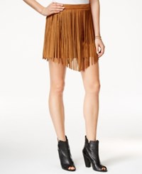 American Rag Fringed Faux Suede Mini Skirt Only At Macy's Light Pecan