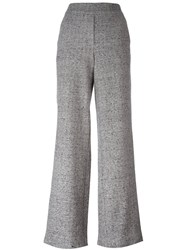 Theory Melange Wide Leg High Waisted Trousers Grey