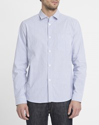 A.P.C. White Etienne Cotton Shirt With Small Collar And Blue Stripes