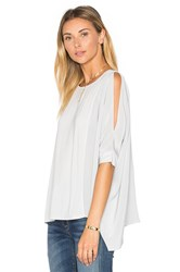 Heather Asymmetric Silk Boxy Top Gray