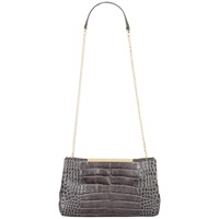 Jaeger Marylebone Leather Croc Clutch Grey