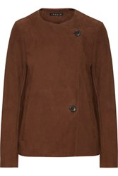 Theory Venizka Bonded Suede Jacket Brown