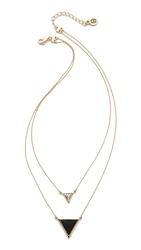 House Of Harlow The Temple Necklace Howlite Black Gold