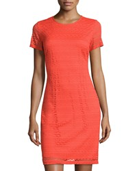 Neiman Marcus Lace Short Sleeve Sheath Dress Orange