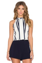 Bishop Young Striped High Neck Crop Tank Navy