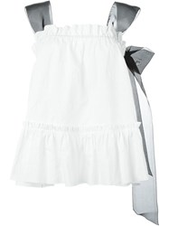 Rochas Contrast Strap Textured Top White