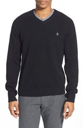 Men's Original Penguin V Neck Lambswool Sweater True Black