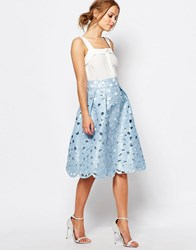 Chi Chi London Cutwork Prom Midi Skirt Blue