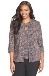 Plus Size Women's Alex Evenings Metallic Print Twinset