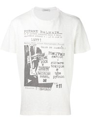 Balmain Pierre Rock Concert Print T Shirt Nude And Neutrals