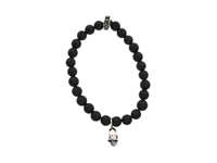 King Baby Studio Black Onyx Bead And Silver Skull Bracelet