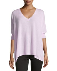 Minnie Rose Cashmere V Neck Dolman 3 4 Sleeve Sweater Rose Pink