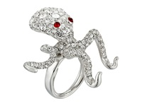 Kenneth Jay Lane Silver And Crystal Octopus Ring Crystal Ring Gray