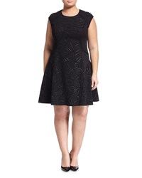 Julia Jordan Plus Rio Cap Sleeve Fit And Flare Dress Black