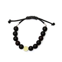 Felt Forma Raw Baltic Amber Leather And Sterling Silver Bracelet Moon