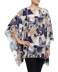 Neiman Marcus Abstract Print 3 4 Sleeve Poncho Navy Brown