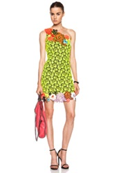 Christopher Kane All Over Poly Lace Dress In Yellow Floral Neon