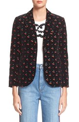 Women's Marc By Marc Jacobs 'Strass' Embroidered Cherry Velvet Blazer