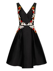 Chi Chi London Floral Embroidered Midi Prom Dress Black