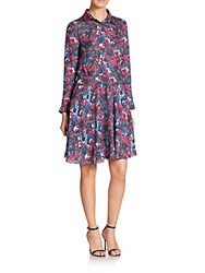 Haute Hippie Floral Print Silk Shirtdress Blue Multi