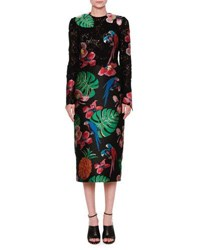 Valentino Lace And Brocade Long Sleeve Dress Black Multi
