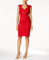 Connected Lace Sweetheart Sheath Dress Red