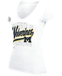 Adidas Women's Michigan Wolverines Script Tail Shadow T Shirt White