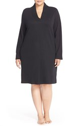 Plus Size Women's Lauren Ralph Lauren 'Emsworth' Cotton Nightgown Black