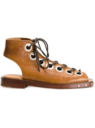Marques Almeida Lace Up Bootie Sandals Brown