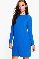 Boohoo Long Sleeve Wrap Over Shift Dress Cobalt