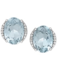 Macy's Aquamarine 3 Ct. T.W. And Diamond Accent Stud Earrings In 14K White Gold