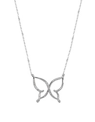 Lord And Taylor Diamond And 14K White Gold Butterfly Pendant Necklace Silver