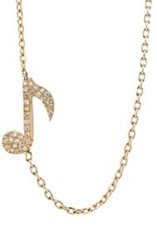 Bianca Pratt Women's Musical Note Charm Necklace Colorless