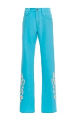 Cynthia Rowley Embroidered Flare Pants Print