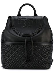 Tory Burch Embossed Flap Backpack Black