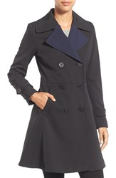Trina Turk Women's 'Tara' Fit And Flare Rain Coat Black Navy