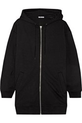 Alexander Wang T By Oversized French Cotton Blend Terry Hooded Top Black