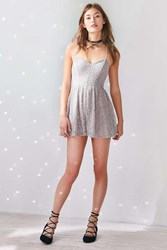 Kimchi And Blue Victoria Sweetheart Shimmer Lace Romper Silver
