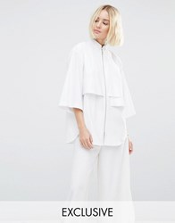 House Of Sunny Zip Front Minimal Shirt With Hidden Pocket White