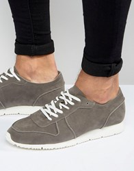 Asos Retro Trainers In Relaxed Grey Faux Suede Grey