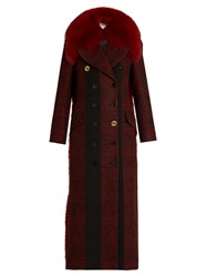 Sonia Rykiel Fur Collar Hound's Tooth Double Breasted Coat Red Multi