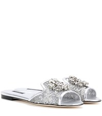 Dolce And Gabbana Bianca Embellished Lace Slip On Sandals Silver
