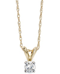 Macy's Round Cut Diamond Pendant Necklace In 10K Gold 1 5 Ct. T.W.