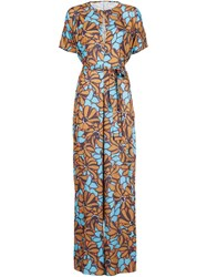 Tome Oversized Floral Print Jumpsuit Brown