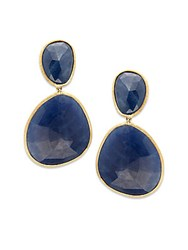 Marco Bicego Unico Sapphire And 18K Gold Hand Made Drop Earrings Blue