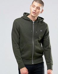 Fred Perry Hoodie With Zip Through In British Racing Green Marl Br Rac Gr Ml