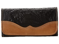 American West Graciebird Tri Fold Wallet Black Tan Wallet Handbags