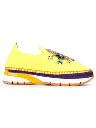 Dolce And Gabbana Embellished Espadrille Slip On Sneakers Yellow And Orange