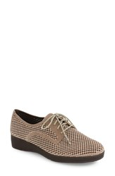Vaneli Women's Aleria Crystal Embellished Perforated Oxford Taupe Suede